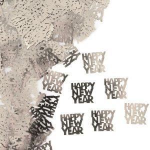 קונפטי שחור Happy New Year, סילבסטר, מסיבת סילבסטר, קישוטים לסילבסטר, אביזרים למסיבת סילבסטר, 2021, קונפטי, Happy New Year