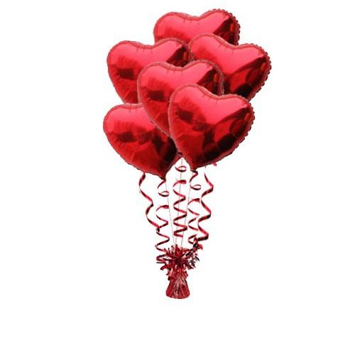 זר בלונים לבבות אדומים