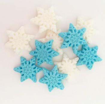 קישוט בצק סוכר פתיתי שלג תכלת לבן