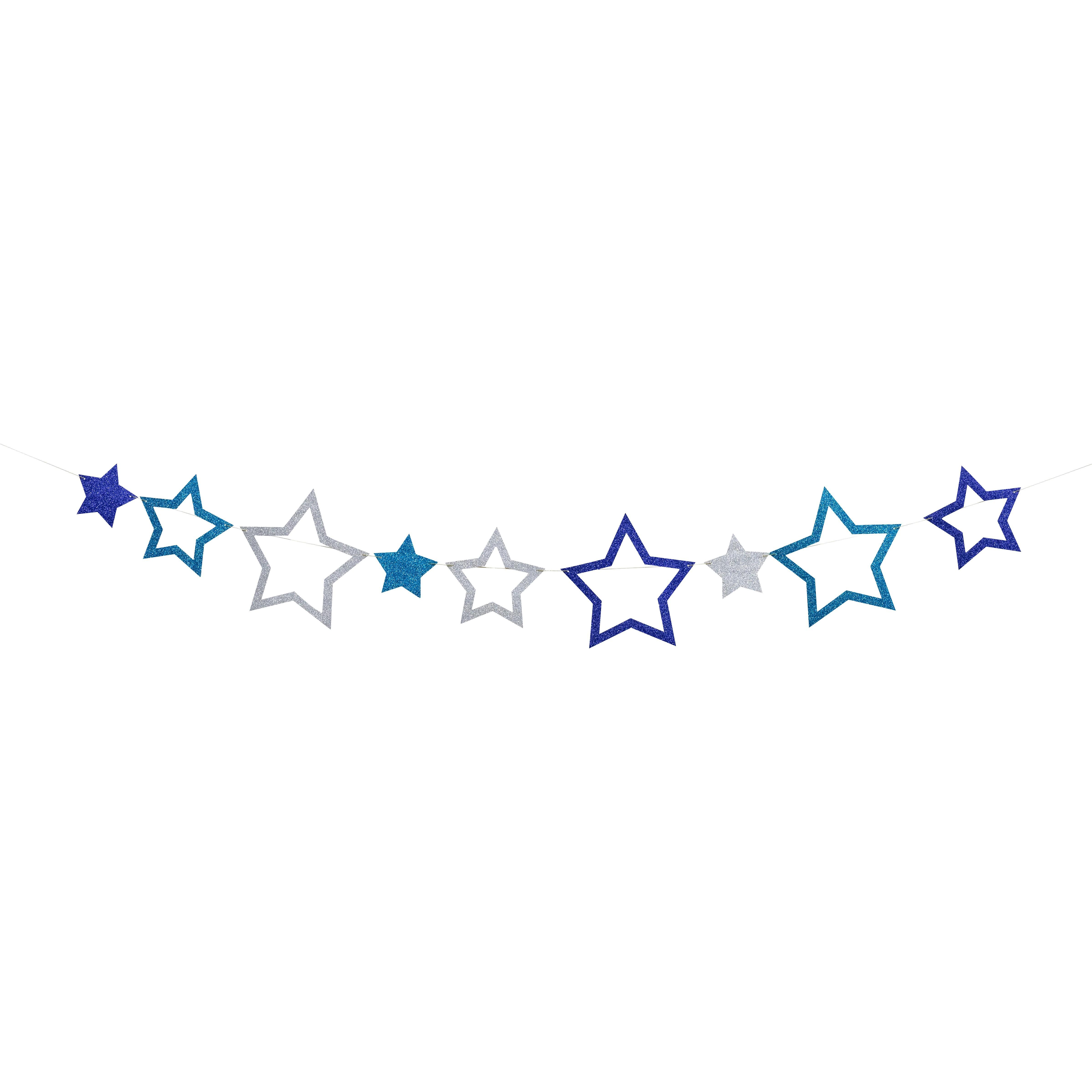שרשרת כוכבים כחול כסף גליטר