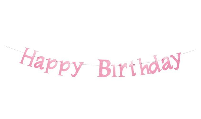 שרשרת Happy Birthday אולטרה לבן-ורוד