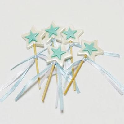 קישוט בצק סוכר- כוכב כחול על מקל