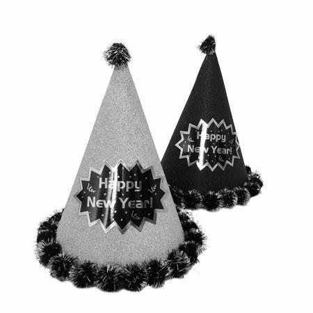 כובע מסיבה שחור עיטור כסף Happy New Year