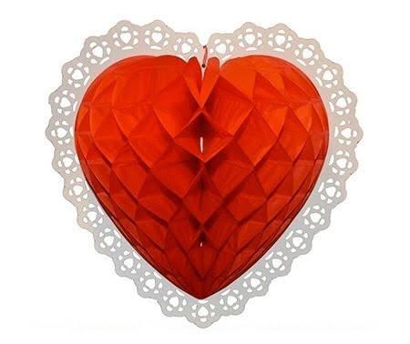 """כדור נייר לב מעוצב אדום, כדור לב, לב נייר, לב מנייר, ולנטיין, יום האהבה, ט""""ו באב, קישוט ליום האהבה, קישוטים ליום האהבה, קישוטים לולנטיין"""