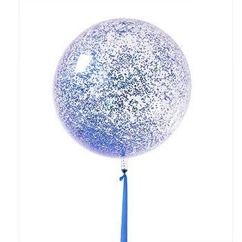 בלון בועה שקוף במילוי קונפטי כחול