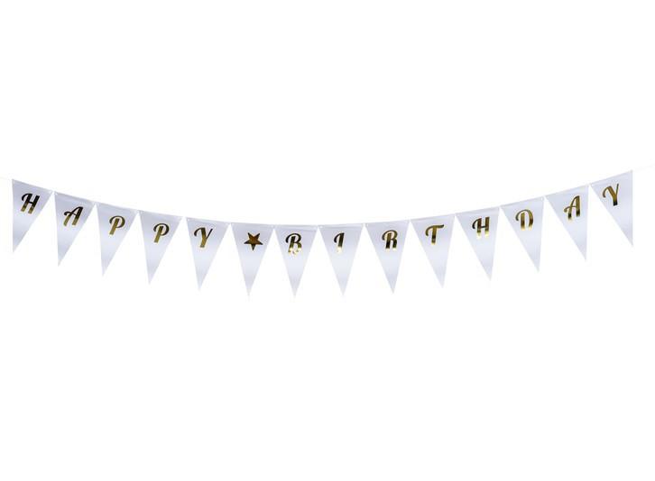 שרשרת דגלונים לבנה עם הטבעת Happy Birthday בזהב