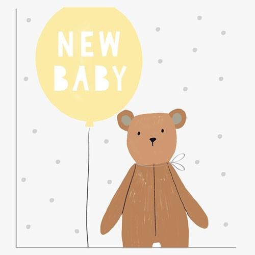כרטיס ברכה להולדת תינוק - בלון צהוב