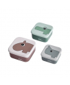סט 3 קופסאות לחטיפים- צבע פודרה