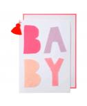 כרטיס ברכה להולדת תינוק - Meri Meri כיתוב ורוד
