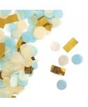 קונפטי נייר - תכלת, לבן זהב