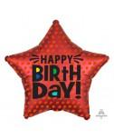 בלון כוכב אדום Happy Birthday