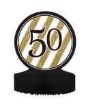 מרכז שולחן גיל 50 שחור זהב לבן