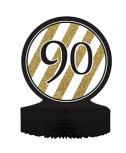 מרכז שולחן גיל 90 שחור זהב לבן