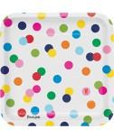 צלחות גדולות נקודות צבעוניות