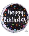 בלון הליום שחור כסוף Happy Birthday