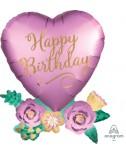 לב עם פרחים Happy Birthday