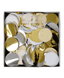 קונפטי עיגולי נייר כסף זהב לבן- Meri Meri