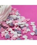 סוכריות לעוגה לבבות גדולים ורוד, לבן, סגול
