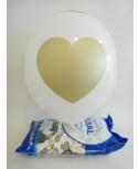בלון גומי לבן עם הדפס לבבות זהב