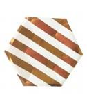 צלחות נייר משושה גדולות- פסים רוז גולד ולבן