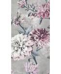 מפיות מלבניות- פרחים רקע אפור
