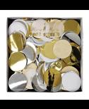 קונפטי עיגולי נייר זהב כסוף לבן - Meri Meri