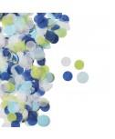 קונפטי עיגולי נייר - כחול, ירוק, לבן