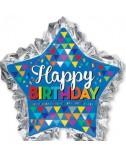 בלון כוכב כחול ענק Happy Birthday