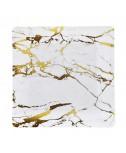 מארז מגשי נייר מרובעים בעיצוב שיש זהב מהודר