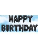 בלוני אותיות Happy Birthday שחור עם כוכבים