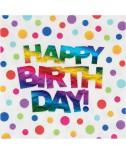 מפיות Happy Birthday נקודות צבעוניות