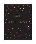 כרטיס ברכה יום הולדת - נקודות צבעוניות על רקע שחור