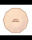 צלחות גדולות ורוד בהיר happy birthday