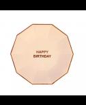 צלחות קטנות ורוד בהיר happy birthday