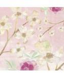 מפיות פרחים ברקע ורוד