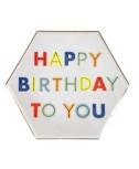צלחות נייר נאון גדולות Happy Birthday - Meri Meri