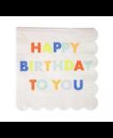 מפיות נאון קטנות Happy Birthday - Meri Meri