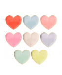 צלחות נייר לב גדולות בצבעי פסטל - Meri Meri