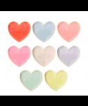 צלחות נייר לב קטנות בצבעי פסטל - Meri Meri