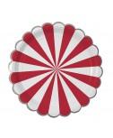 צלחות נייר קטנות אדום לבן - Meri Meri