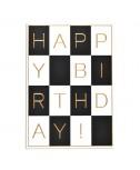 כרטיס ברכה יום הולדת - משבצות שחור לבן