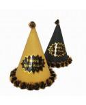 כובע מסיבה שחור עיטור זהב Happy New Year