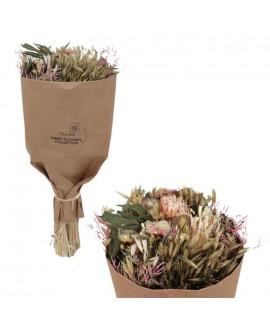 זר פרחים יבשים- ורוד וילג'