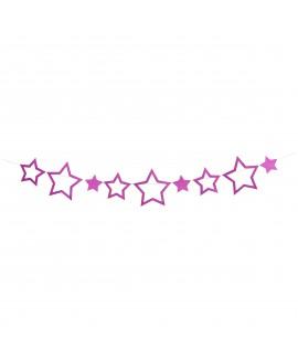 שרשרת כוכבים ורוד גליטר