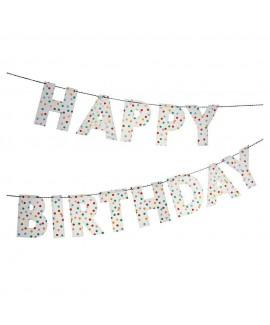 שרשרת עם נקודות צבעוניות HAPPY BIRTHDAY- Meri Meri