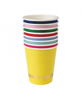כוסות צבעוניות עם הטבעת HB - Meri Meri