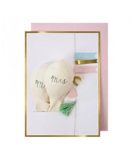 כרטיס ברכה עם בלונים לחתונה