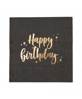 מפיות קוקטייל שחורות Happy Birthday