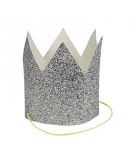 מארז 8 מיני כתרים גליטר כסף - Meri Meri