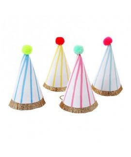 מארז 8 מיני כובעי מסיבה פסים - Meri Meri